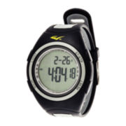 Everlast® Womens Pedometer Gray/Black Silicone Strap Sport Watch