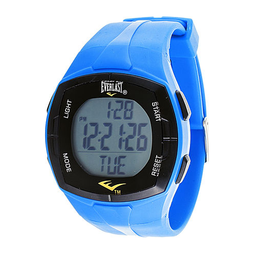Everlast® Mens Heart Rate Monitor Blue Silicone Strap Sport Watch