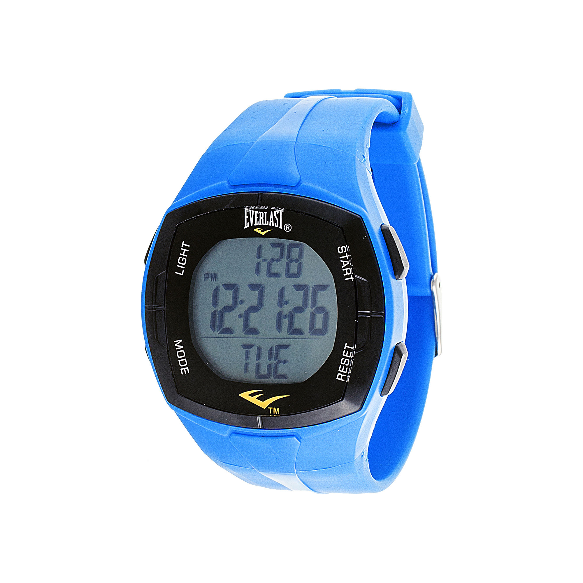Everlast Mens Heart Rate Monitor Blue Silicone Strap Sport Watch