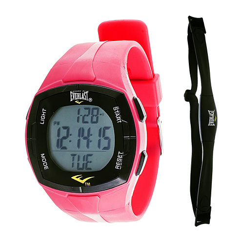 Everlast® Womens Heart Rate Monitor Pink Silicone Strap Sport Watch