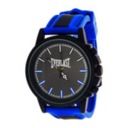 Everlast® Mens Blue/Black Silicone Strap Sport Watch
