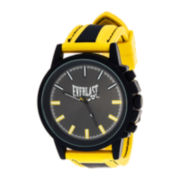 Everlast® Mens Yellow/Black Silicone Strap Sport Watch