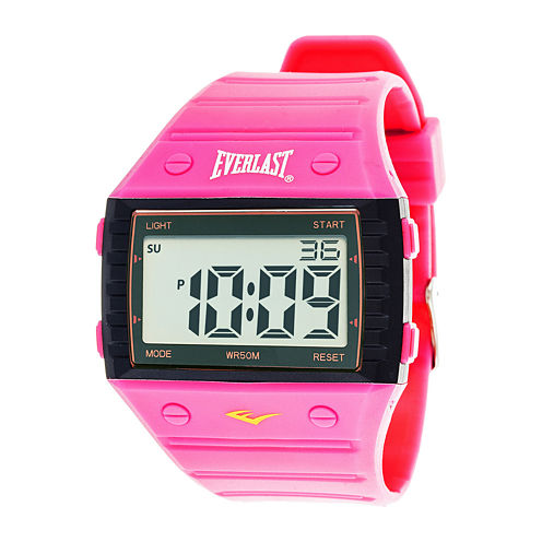 Everlast® Womens Pink Silicone Strap Digital Sport Watch