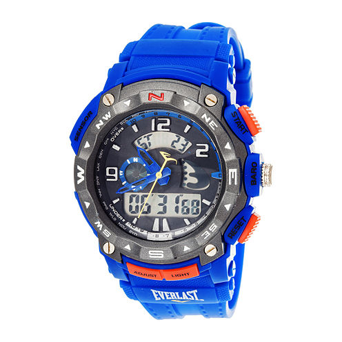 Everlast® Mens Blue Silicone Strap Analog/Digital Sport Watch