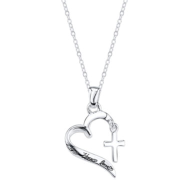 jcpenney.com | Footnotes® Sterling Silver Heart Cross Pendant Necklace