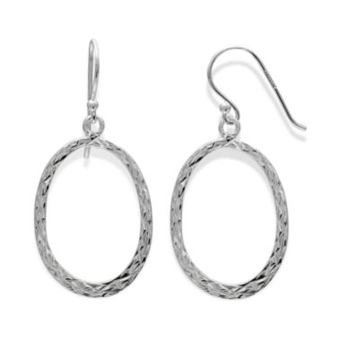jcpenney.com | Sterling Silver Diamond-Cut Oval Drop Hoop Earrings