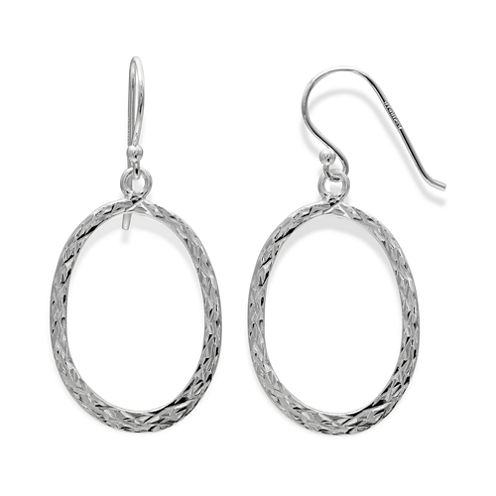 Sterling Silver Diamond-Cut Oval Drop Hoop Earrings