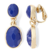 Liz Claiborne® Gold-Tone Blue Stone Drop Clip-On Earrings