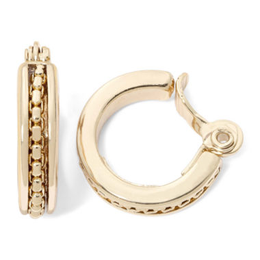jcpenney.com | Monet® Gold-Tone Textured Clip-On Hoop Earrings