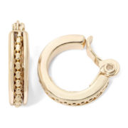 Monet® Gold-Tone Textured Clip-On Hoop Earrings