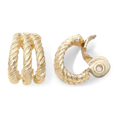 jcpenney.com | Monet® Gold-Tone Textured Rope Clip-On Earrings