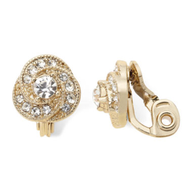jcpenney.com | Monet® Gold-Tone Crystal Button Clip-On Earrings