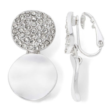 jcpenney.com | Liz Claiborne® Crystal Silver-Tone Clip-On Earrings