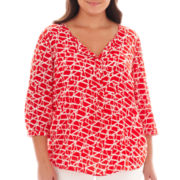 jcp™ 3/4-Sleeve Peasant Top - Plus