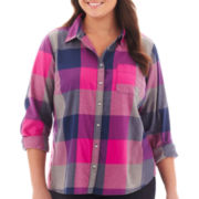 jcp™ Long-Sleeve Brushed Twill Plaid Shirt - Plus