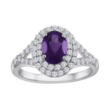 jcpenney.com | Genuine Amethyst & Lab-Created White Sapphire Double Halo Ring in Sterling Silver