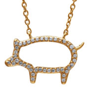 ASPCA® Tender Voices™ 1/7 CT. T.W. Diamond Pig Necklace