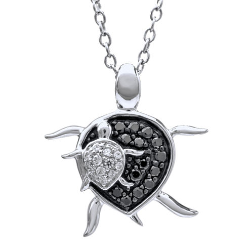 ASPCA® Tender Voices™ 1/5 CT. T.W. Diamond Turtle Pendant Necklace