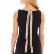 Worthington® Sleeveless Sequin-Trim Top - Petite