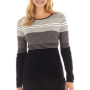 Liz Claiborne Long-Sleeve Striped Sweater - Petite
