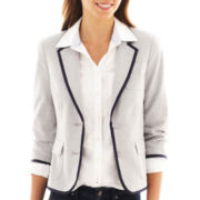 jcp™ 3/4-Sleeve Tipped Blazer