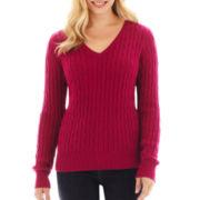 St. John's Bay® Long-Sleeve V-Neck Cable Sweater - Tall