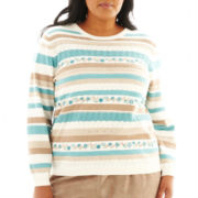 Alfred Dunner® Grand Canyon Embroidered Biadere Sweater - Plus