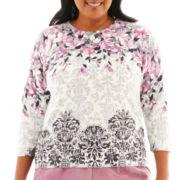 Alfred Dunner® Glacier Lake 3/4-Sleeve Flower Print Sweater - Plus