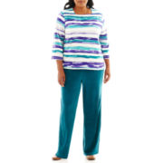 Alfred Dunner® Lake Ontario Watercolor-Striped Top or Pull-On Pants - Plus