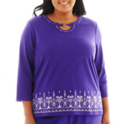 Alfred Dunner® Lake Ontario 3/4-Sleeve Embroidered Border Knit Top - Plus