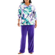 Alfred Dunner® Lake Ontario Stained Glass Floral Top or Pull-On Pants - Plus