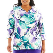 Alfred Dunner® Lake Ontario 3/4-Sleeve Stained Glass Floral Print Top - Plus