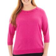 Worthington® 3/4-Sleeve Ruched Sweater - Plus