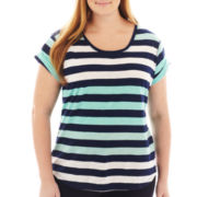 a.n.a® Short-Sleeve Striped Boyfriend Tee - Plus