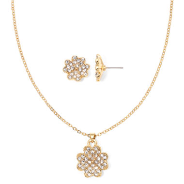 jcpenney.com | Liz Claiborne® Crystal Clover Pendant Necklace and Earring Set