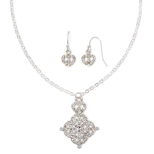 Liz Claiborne® Crystal Quatrefoil Necklace and Earring Set