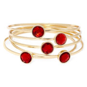 Liz Claiborne® Red Crystal 5-pc. Bangle Bracelet Set