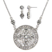 Liz Claiborne® Marcasite Earring and Medallion Necklace Set