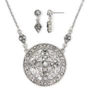Liz Claiborne® Marcasite Earring and Medallion Necklace Set