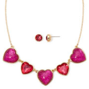 Liz Claiborne® Pink Crystal Heart Earring and Necklace Set