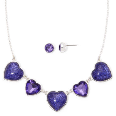 jcpenney.com | Liz Claiborne® Purple Crystal Heart Earring and Necklace Set