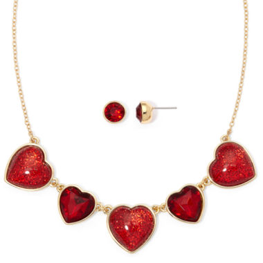 jcpenney.com | Liz Claiborne® Red Crystal Heart Earring and Necklace Set