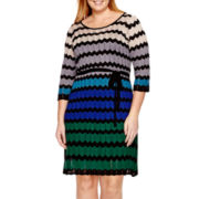 Danny & Nicole® 3/4-Sleeve Belted Sweater Dress - Plus