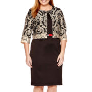 Danny & Nicole® 3/4-Sleeve Paisley Jacket Dress - Plus