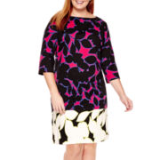 London Style Collection 3/4-Sleeve Floral Print Shift Dress - Plus