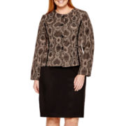 Isabella Long-Sleeve Snake Print Jacket and Solid Skirt Suit - Plus