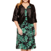 Maya Brooke 3/4-Sleeve Floral Jacket Dress - Plus
