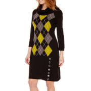 Studio 1® 3/4-Sleeve Argyle Sheath Sweater Dress - Petite