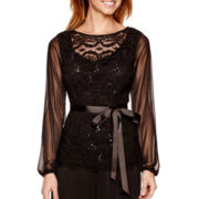 Jump Long-Sleeve Belted Scallop Lace Top - Petite