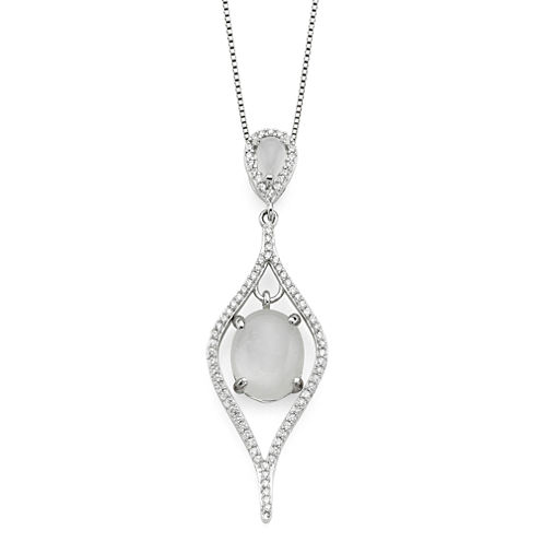 Genuine Moonstone and Lab-Created White Sapphire Sterling Silver Pendant Necklace